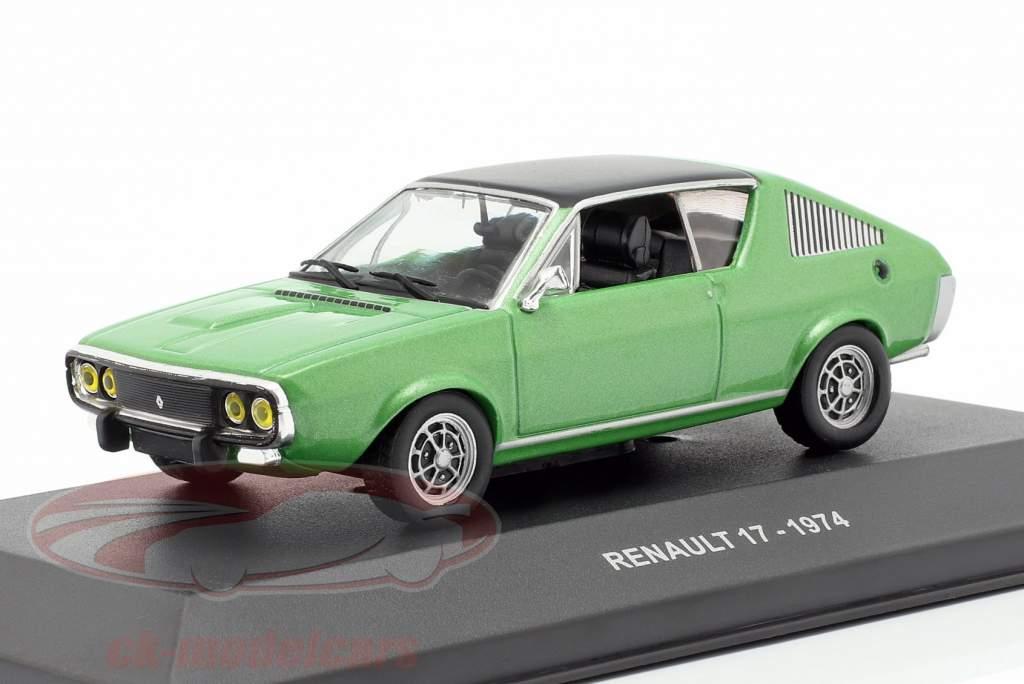 Renault 17 Bouwjaar 1974 groen metalen / zwart 1:43 Solido