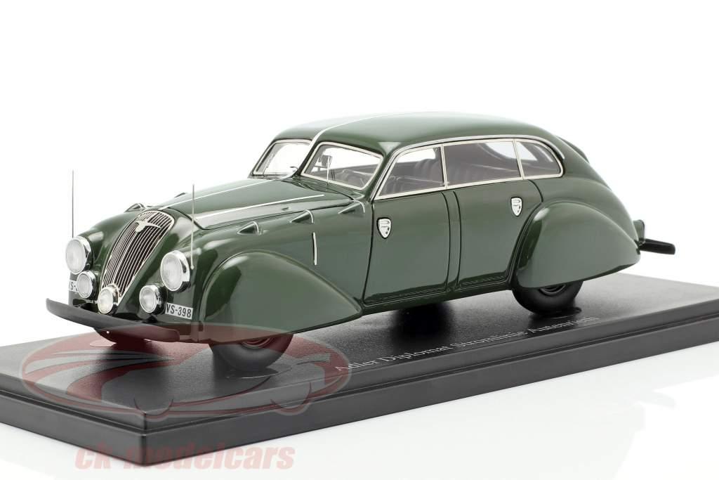 Adler Diplomat Stromlinie Autenrieth ano de construção 1938 verde escuro 1:43 AutoCult