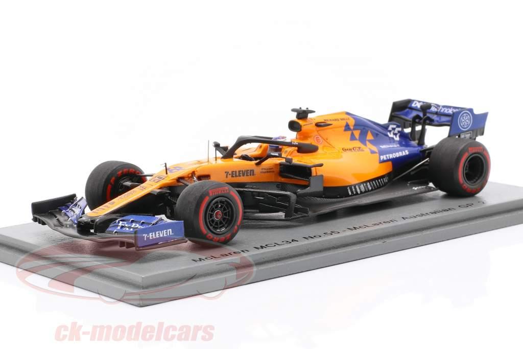 Carlos Sainz jr. McLaren MCL34 #55 australiano GP fórmula 1 2019 1:43 Spark