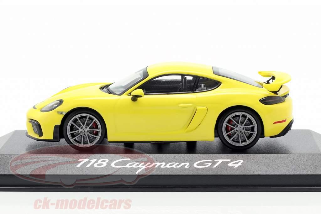 Porsche 718 (982) Cayman GT4 År 2019 gul 1:43 Minichamps