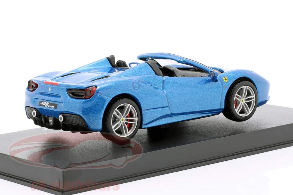 Ferrari 488 Spider ano de construção 2015 azul metálico 1:43 Bburago