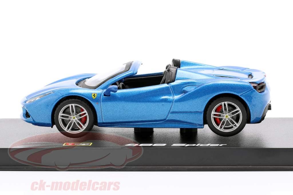 Ferrari 488 Spider año de construcción 2015 azul metálico 1:43 Bburago