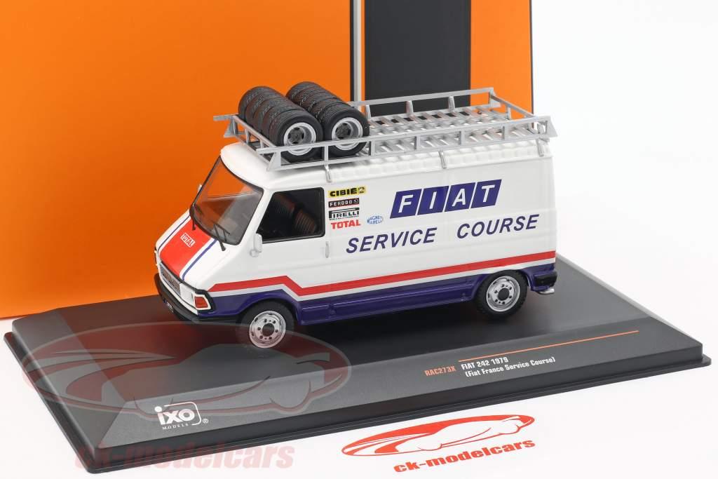 Fiat 242 van Opførselsår 1979 Fiat France Rallye Service hvid / blå / rød 1:43 Ixo