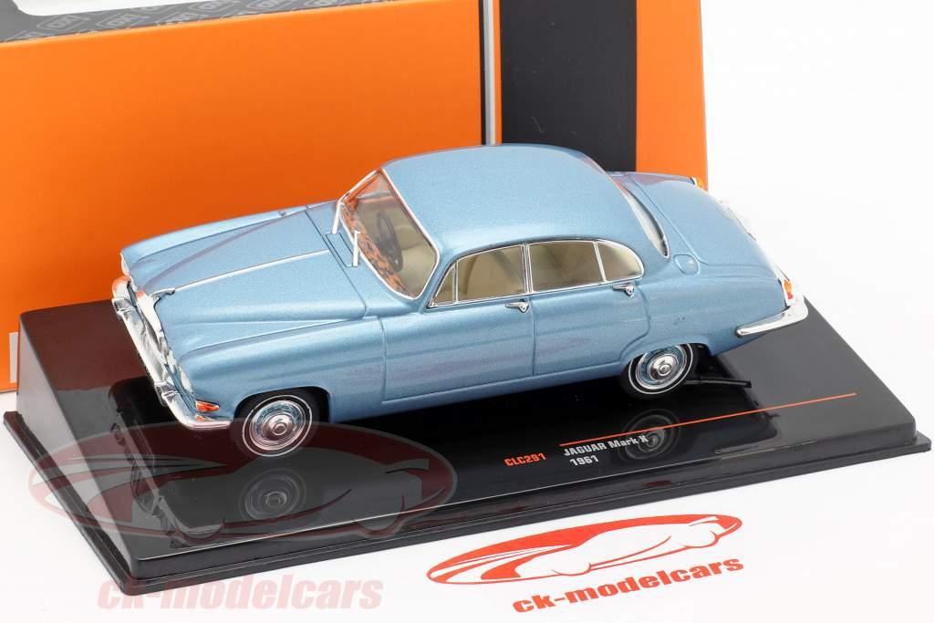 Jaguar Mark X Bouwjaar 1961 blauw metalen 1:43 Ixo