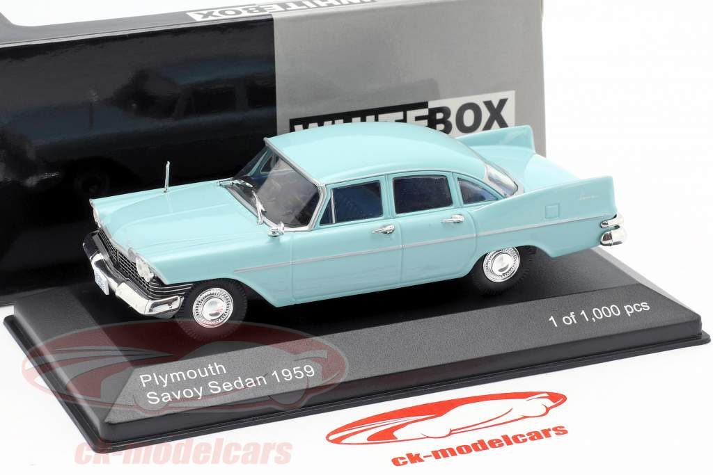 Plymouth Savoy berlina anno di costruzione 1959 azzurro 1:43 WhiteBox
