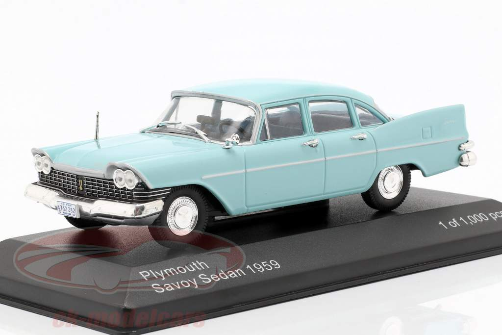 Plymouth Savoy berline année de construction 1959 bleu clair 1:43 WhiteBox