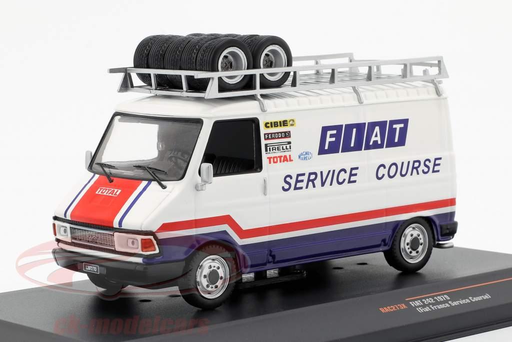 Fiat 242 furgone anno di costruzione 1979 Fiat France Rallye Service bianco / blu / rosso 1:43 Ixo