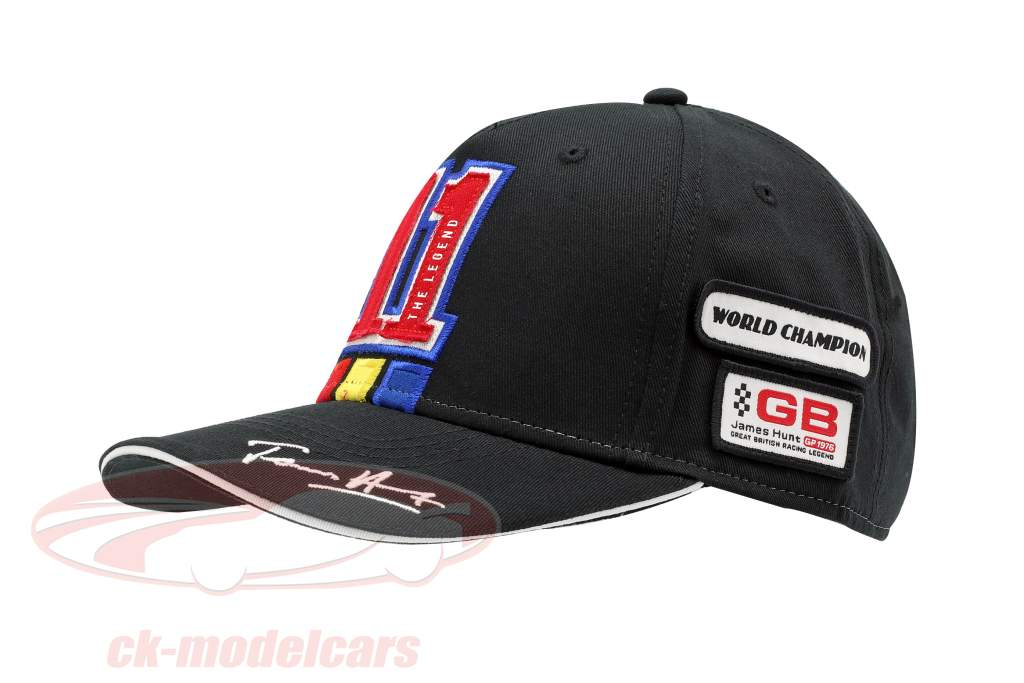 James Hunt Cap Watkins Glen #11 US GP verdensmester formel 1 1976 sort