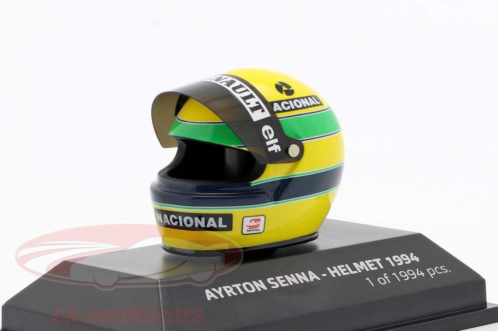Ayrton Senna McLaren MP4/4 San Marino GP fórmula 1 1994 casco 1:8 Minichamps