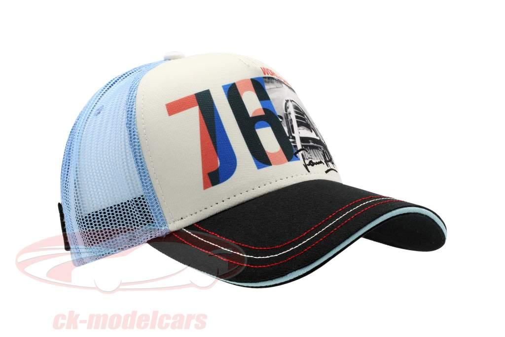 James Hunt Cap JH76 champion du monde formule 1 1976 noir / blanc / bleu / rouge
