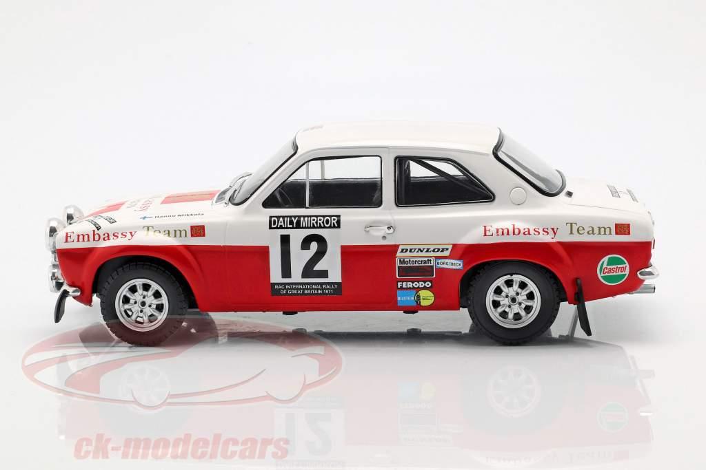 Ford Escort RS 1600 Mk1 #12 4e RAC Rallye 1971 Mikkola, Palm 1:18 Ixo