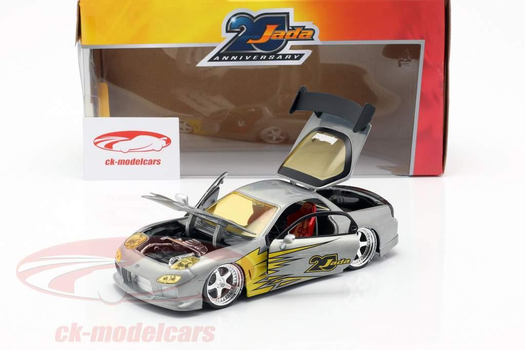 Mazda RX-7 Opførselsår 1993 sølv / gul 1:24 Jada Toys