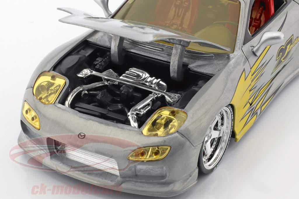 Mazda RX-7 Baujahr 1993 silber / gelb 1:24 Jada Toys