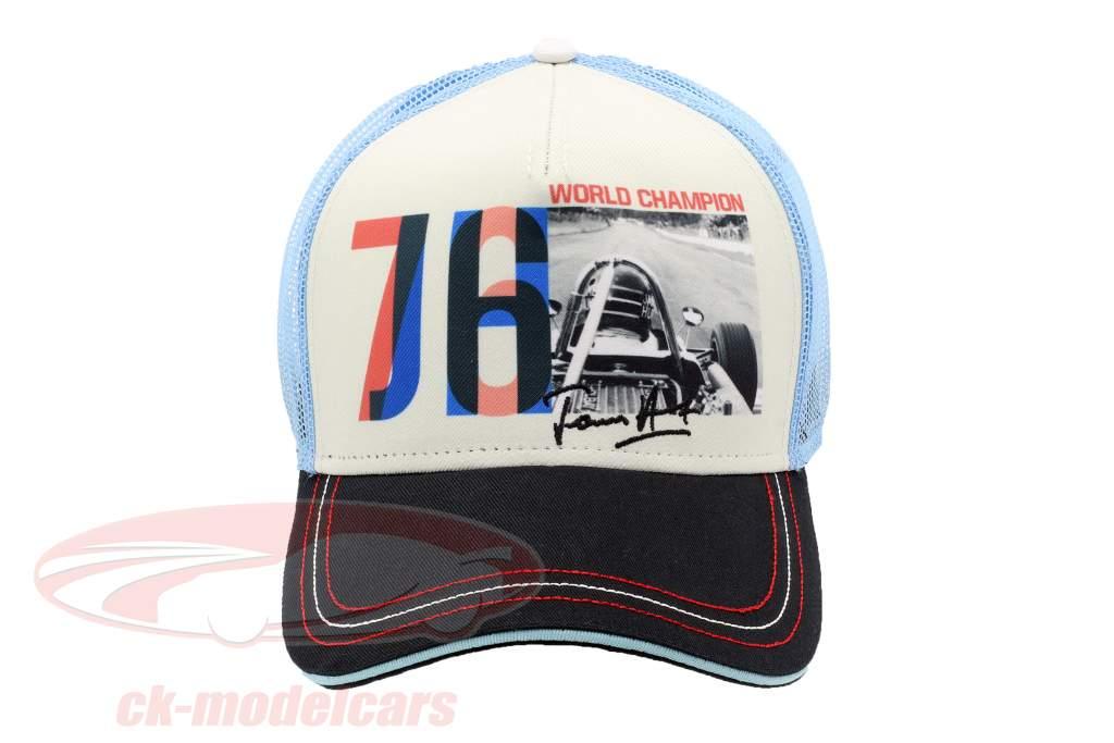 James Hunt Cap JH76 verdensmester formel 1 1976 sort / hvid / blå / rød