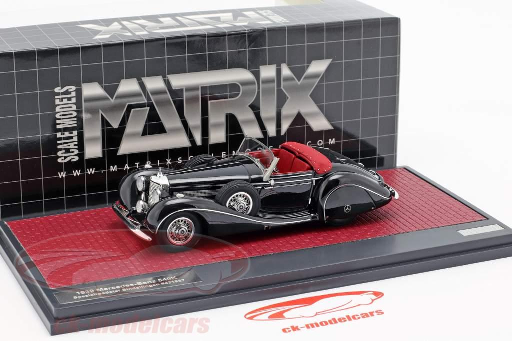 Mercedes-Benz 540K speciale Roadster Sindelfingen Bouwjaar 1939 zwart 1:43 Matrix