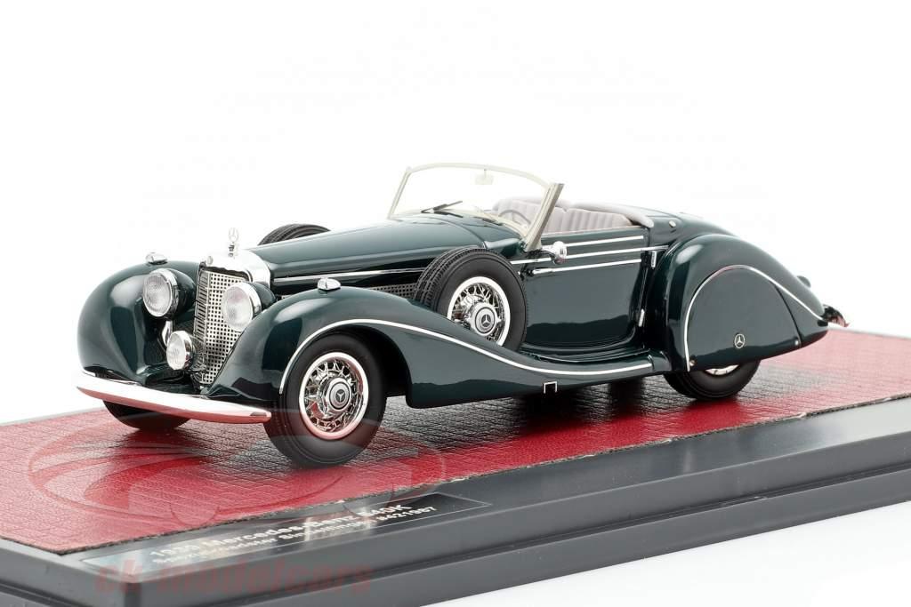 Mercedes-Benz 540K speciale Roadster Sindelfingen Bouwjaar 1939 donkergroen 1:43 Matrix