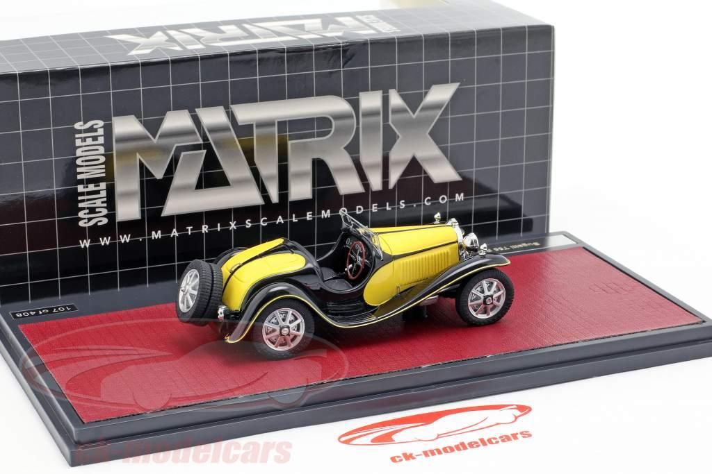 Bugatti T55 roadster année de construction 1932 jaune / noir 1:43 Matrix