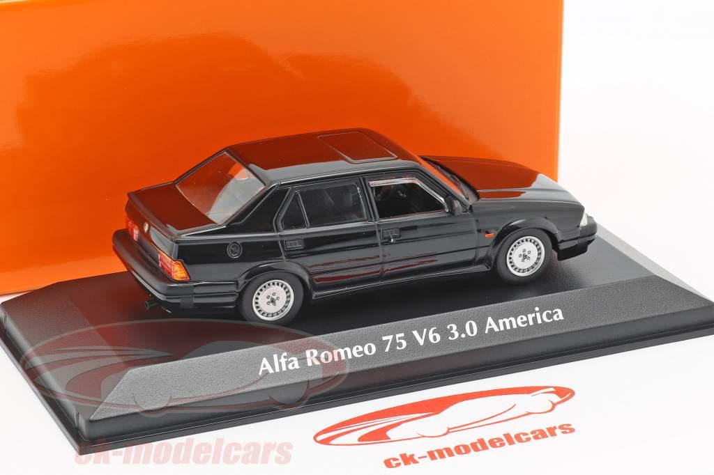 Alfa Romeo 75 V6 3.0 America year 1987 black 1:43 Minichamps