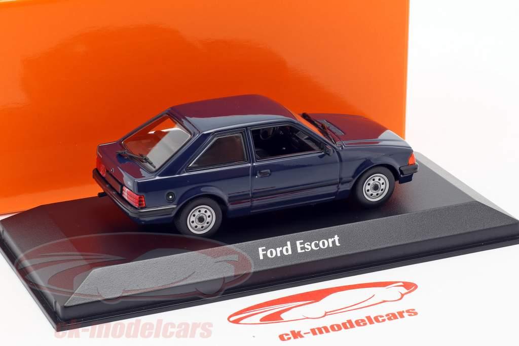 Ford Escort Opførselsår 1981 mørkeblå 1:43 Minichamps