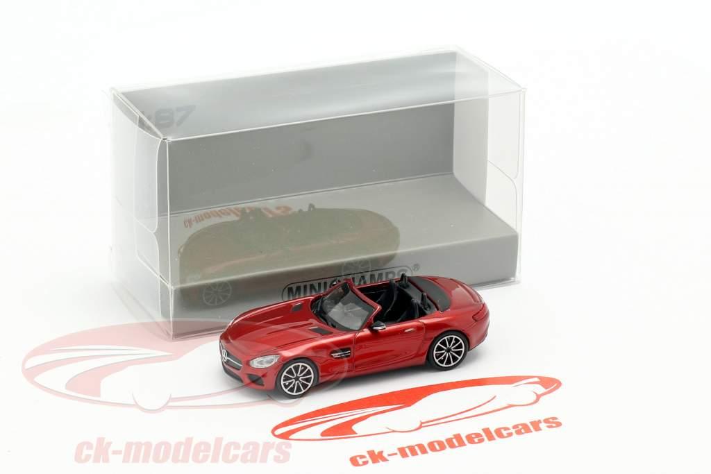 Mercedes-Benz AMG GT S Roadster Bouwjaar 2015 rood metalen 1:87 Minichamps