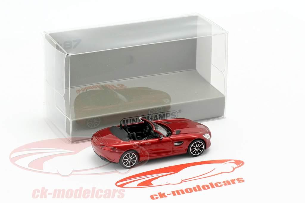 Mercedes-Benz AMG GT S Roadster ano de construção 2015 vermelho metálico 1:87 Minichamps