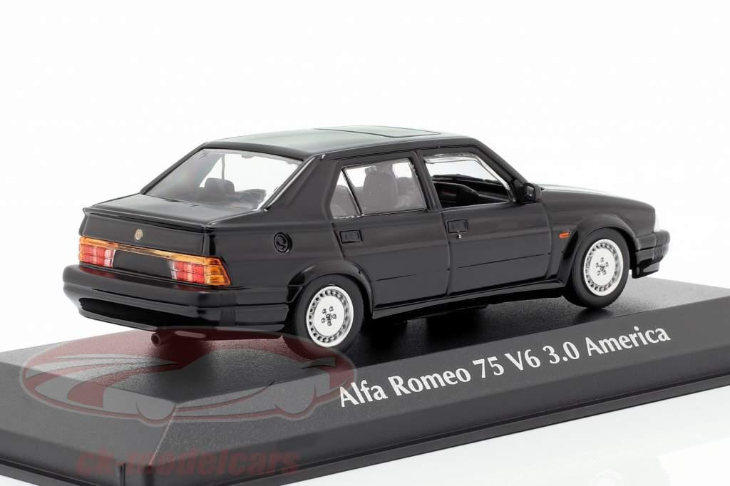 Alfa Romeo 75 V6 3.0 America ano de construção 1987 preto 1:43 Minichamps