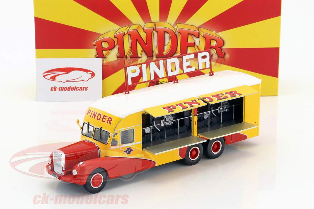 Bernard 28 eléctrico camión Pinder circo año de construcción 1951 amarillo / rojo 1:43 Direkt Collections