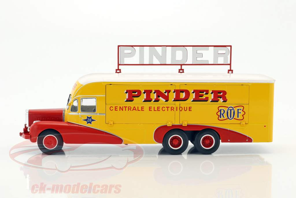 Bernard 28 elétrico caminhão Pinder circo ano de construção 1951 amarelo / vermelho 1:43 Direkt Collections