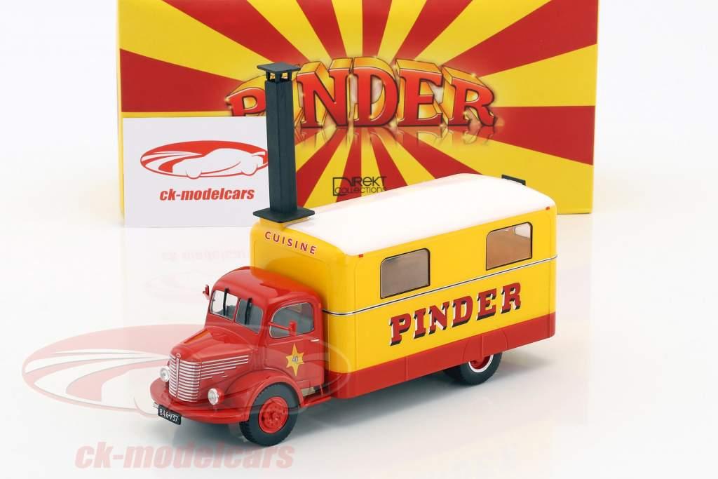 Unic ZU 51 keuken vrachtwagen Pinder circus Bouwjaar 1952 geel / rood 1:43 Direkt Collections