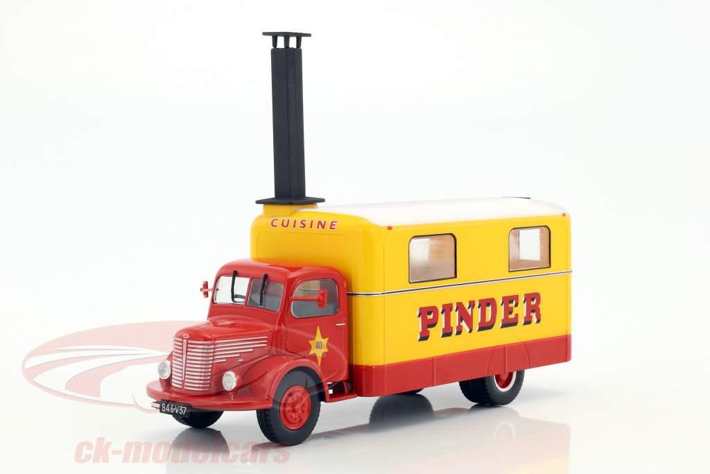 Unic ZU 51 Kitchen Truck Pinder Zirkus Baujahr 1952 gelb / rot 1:43 Direkt Collections