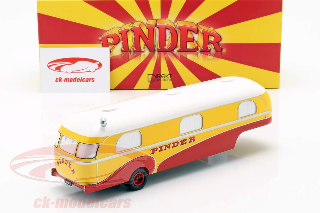 Caravan trailer Pinder circus year 1955 yellow / red / white 1:43 Direkt Collections