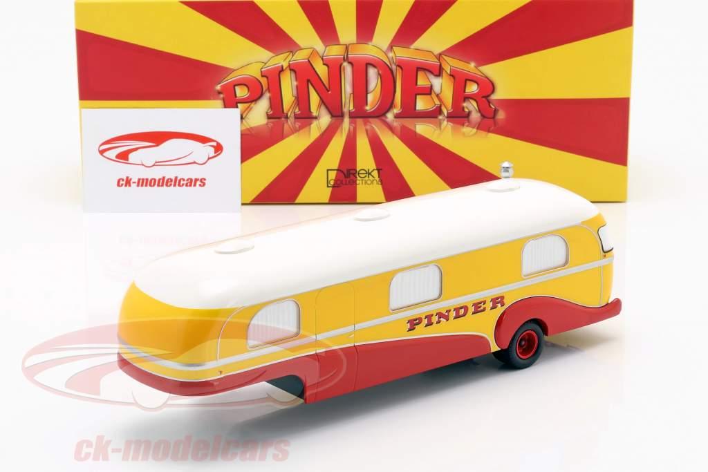reboque Caravan Pinder circo ano de construção 1955 amarelo / vermelho / branco 1:43 Direkt Collections