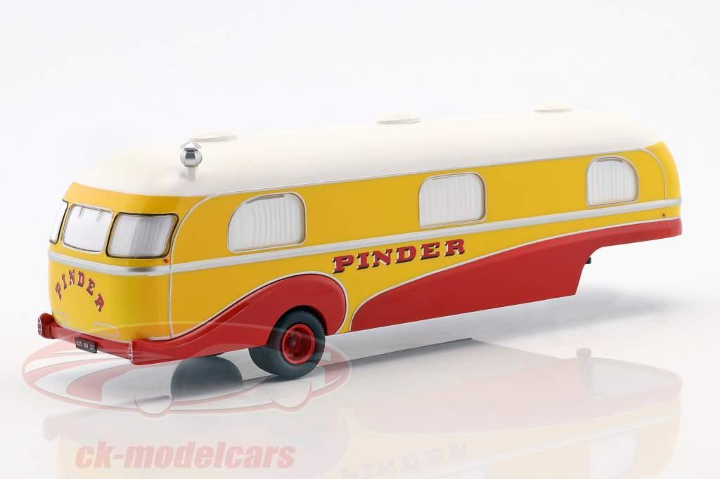 remorque Caravan Pinder cirque année de construction 1955 jaune / rouge / blanc 1:43 Direkt Collections