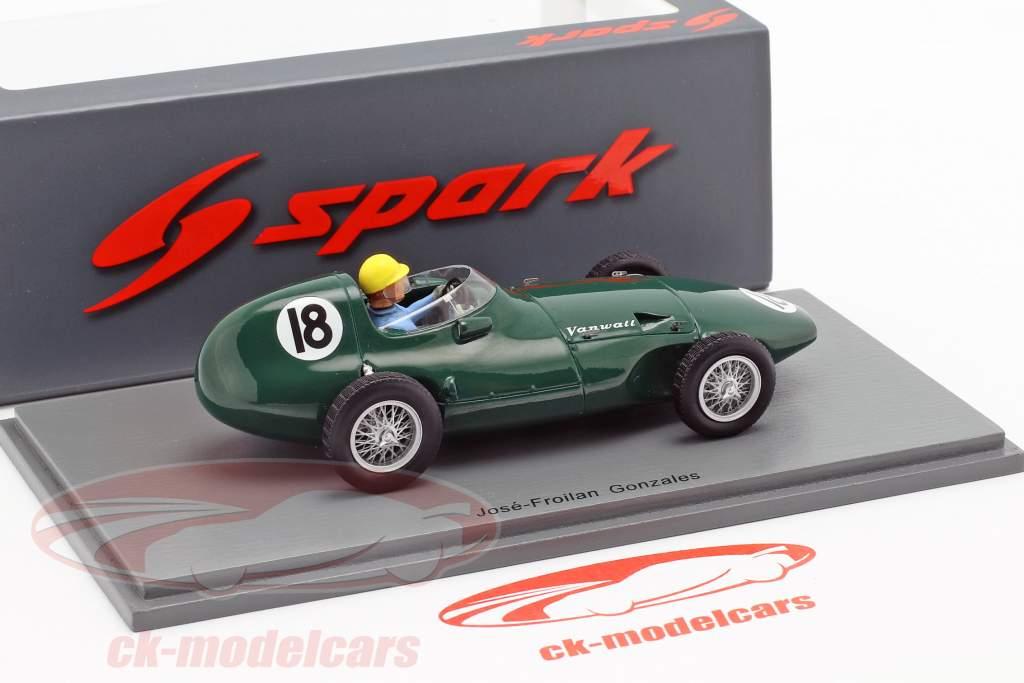 Jose Froilan Gonzalez Vanwall VW2 #18 británico GP fórmula 1 1956 1:43 Spark