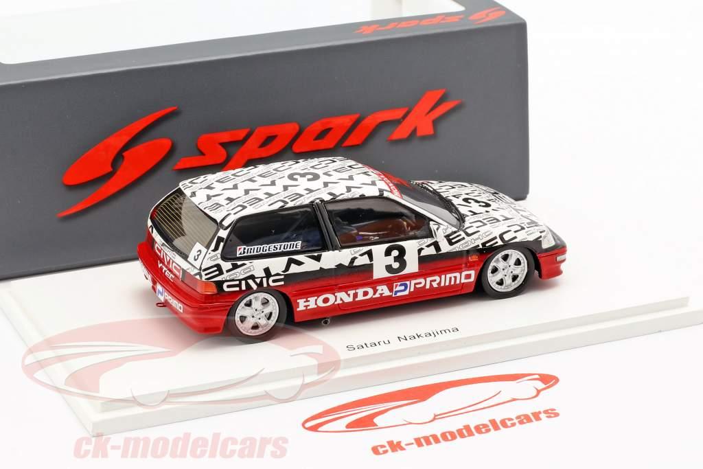 Honda Civic EF9 #3 gruppo N Suzuka Circuit Test 1990 Satoru Nakajima 1:43 Spark