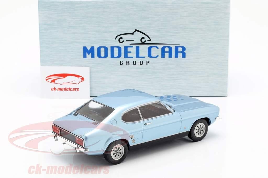 Ford Capri MK I 1600 GT Bouwjaar 1973 lichtblauw metalen 1:18 Model Car Group