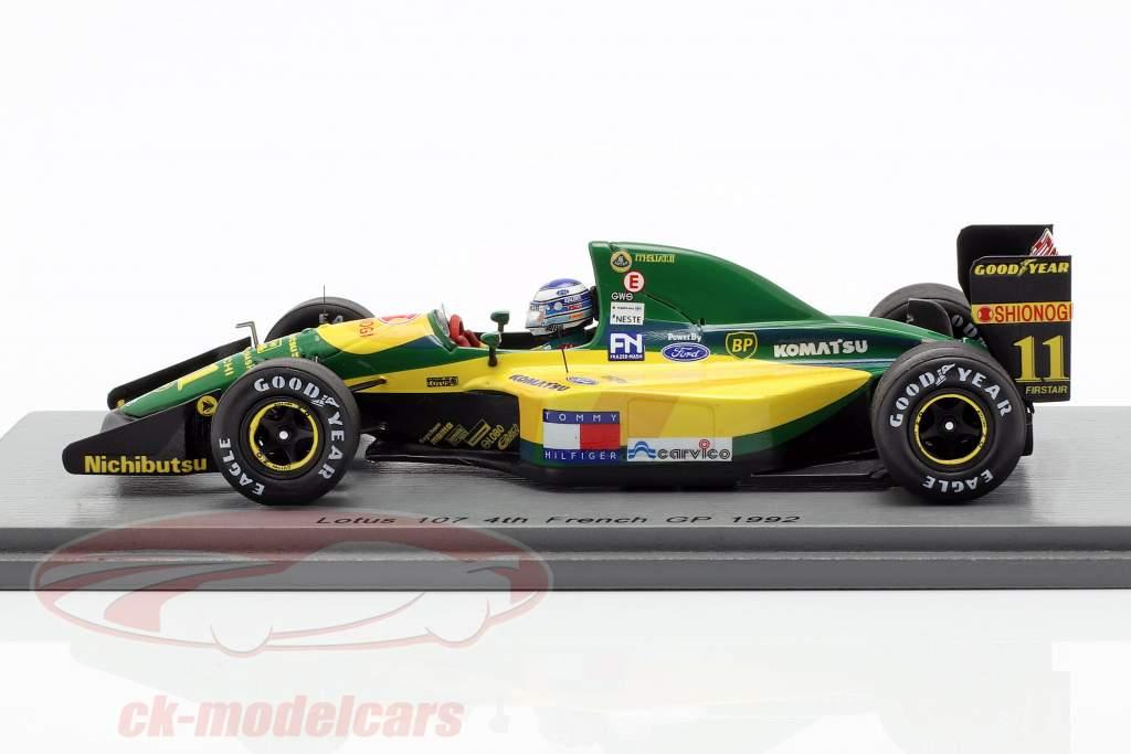 Mika Häkkinen Lotus 107 #11 4ª francês GP fórmula 1 1992 1:43 Spark
