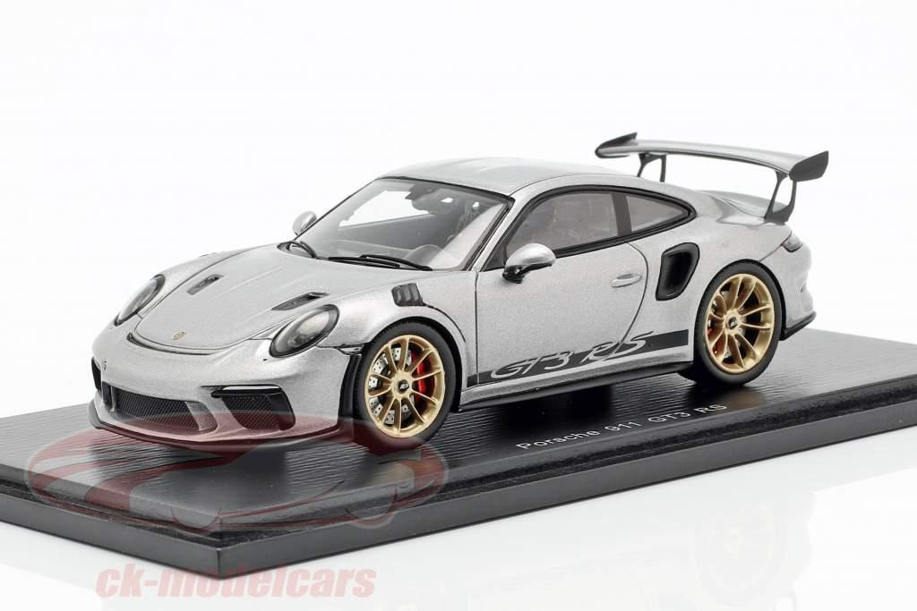 Porsche 911 (991 II) GT3 RS année de construction 2018 argent métallique 1:43 Spark