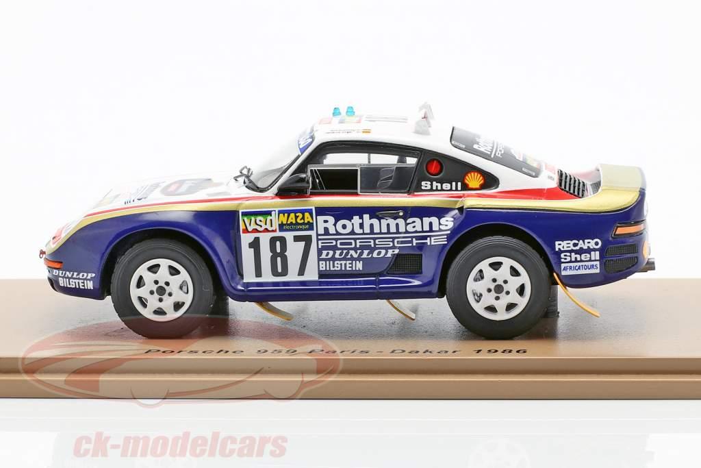 Porsche 959 #187 Rally Paris - Dakar 1986 Kussmaul, Unger 1:43