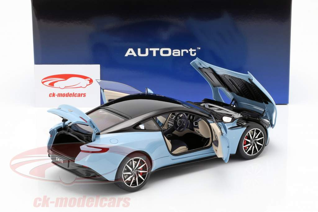Aston Martin DB11 coupe year 2017 light blue metallic 1:18 AUTOart