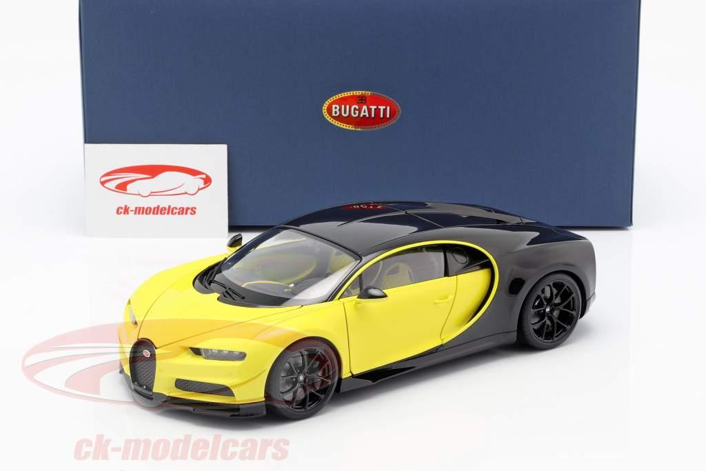 Bugatti Chiron ano de construção 2017 amarelo / preto 1:18 AUTOart