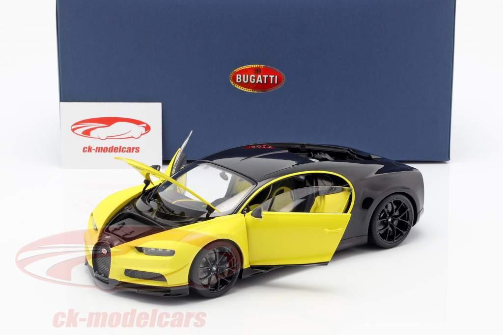 Bugatti Chiron Construction year 2017 yellow / black 1:18 AUTOart
