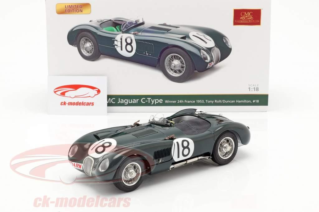 Jaguar C-Type #18 ganador 24h LeMans 1953 Rolt, Hamilton 1:18 CMC