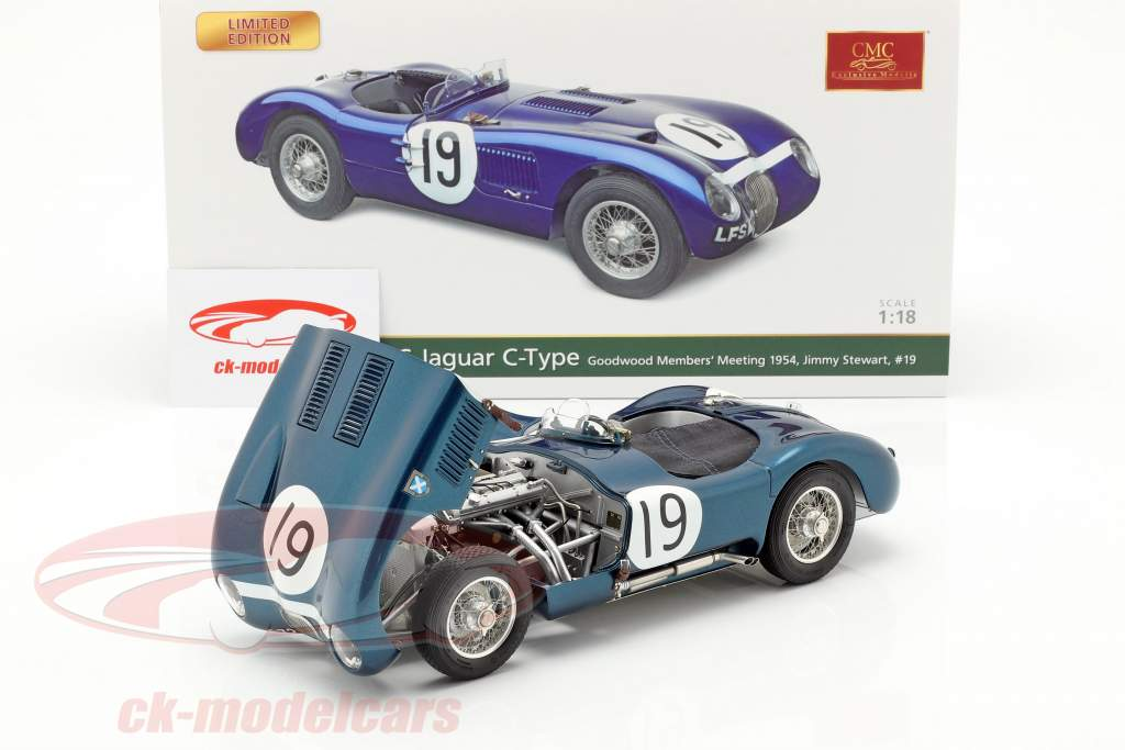 Jaguar C-Type #19 Goodwood Member's Meeting 1954 Jimmy Stewart 1:18 CMC