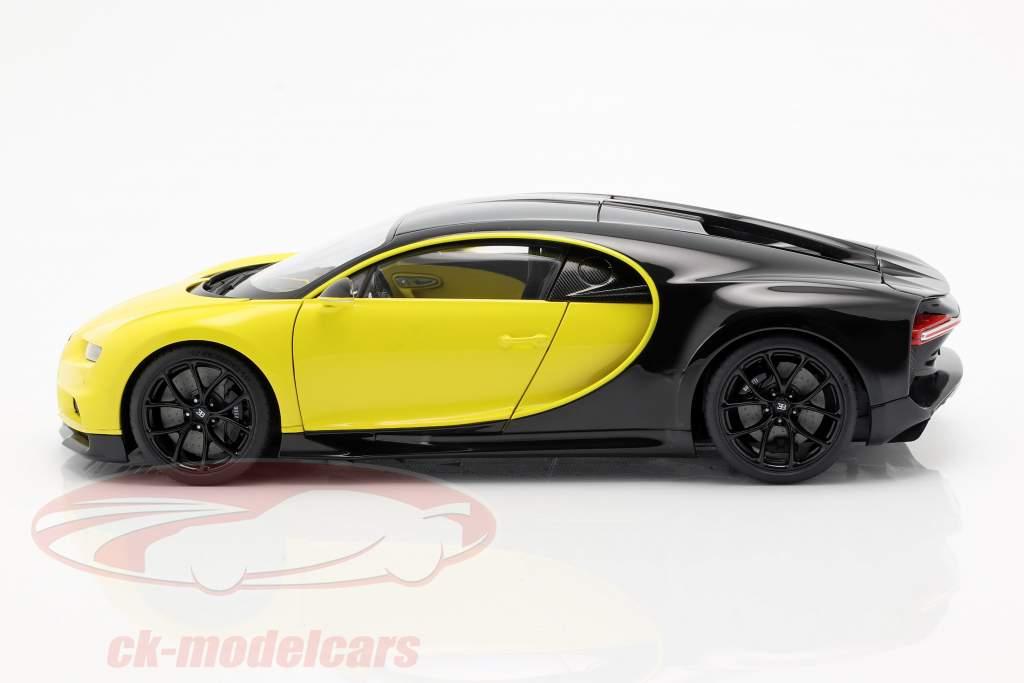 Bugatti Chiron Opførselsår 2017 gul / sort 1:18 AUTOart
