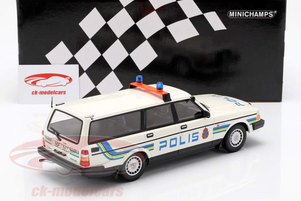 Volvo 240 GL Break police Sweden year 1986 white 1:18 Minichamps