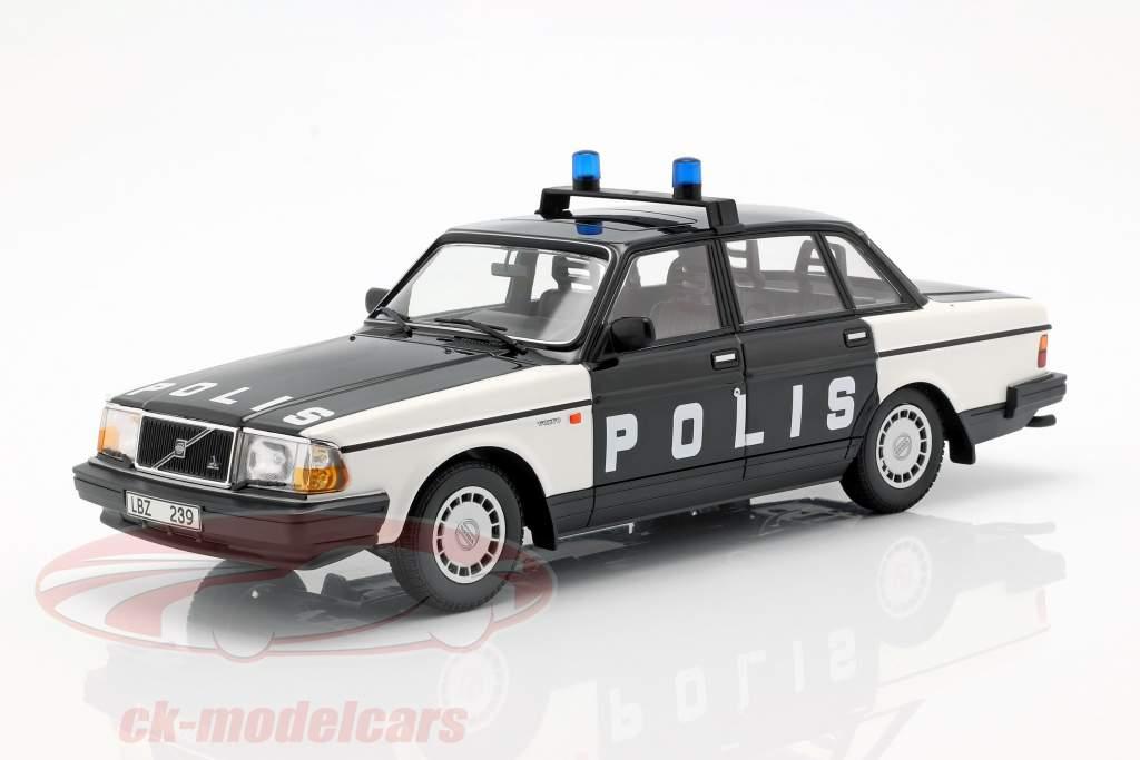 Volvo 240 GL Break police Sweden year 1986 black / white 1:18 Minichamps