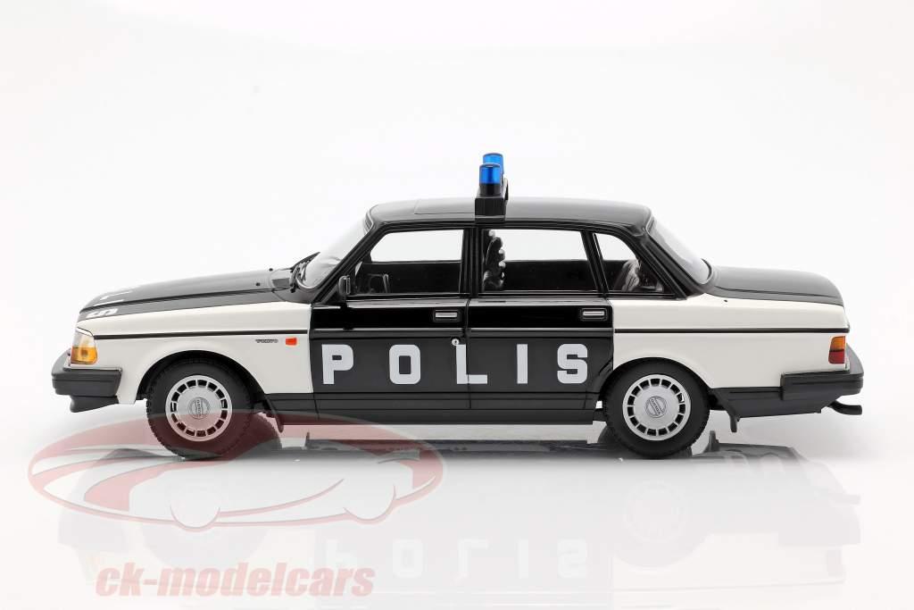 Volvo 240 GL Break policía Suecia año de construcción 1986 negro / blanco 1:18 Minichamps