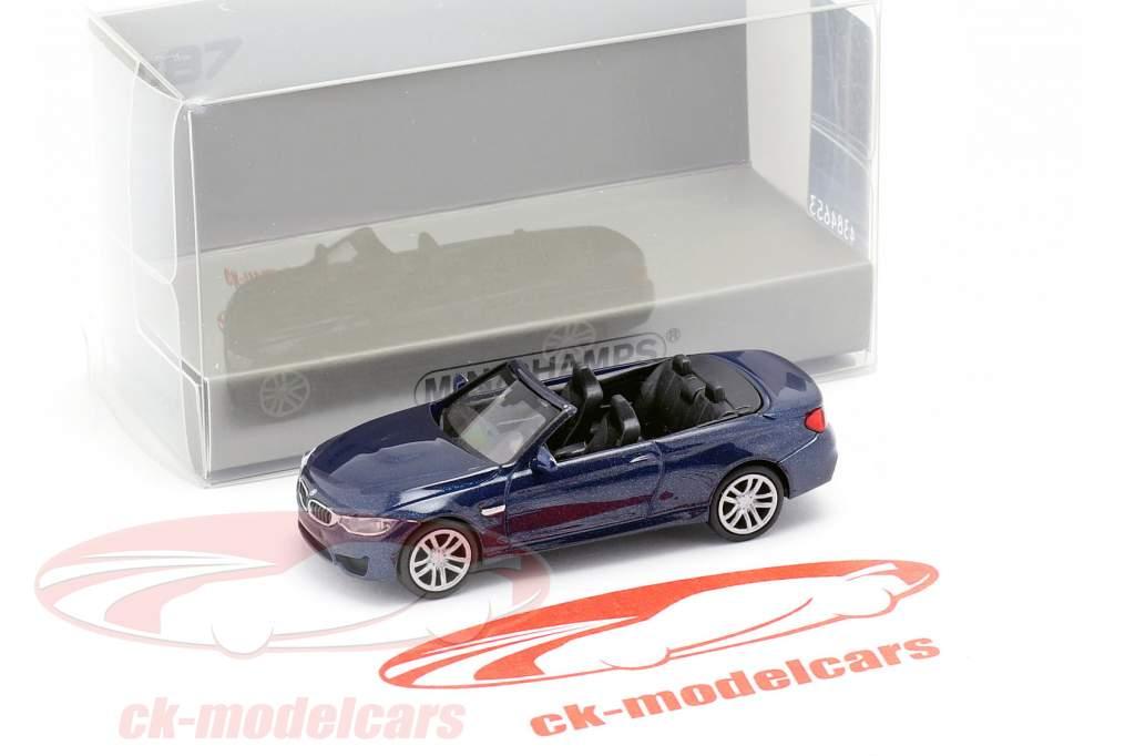 BMW M4 cabriolé ano de construção 2015 azul metálico 1:87 Minichamps