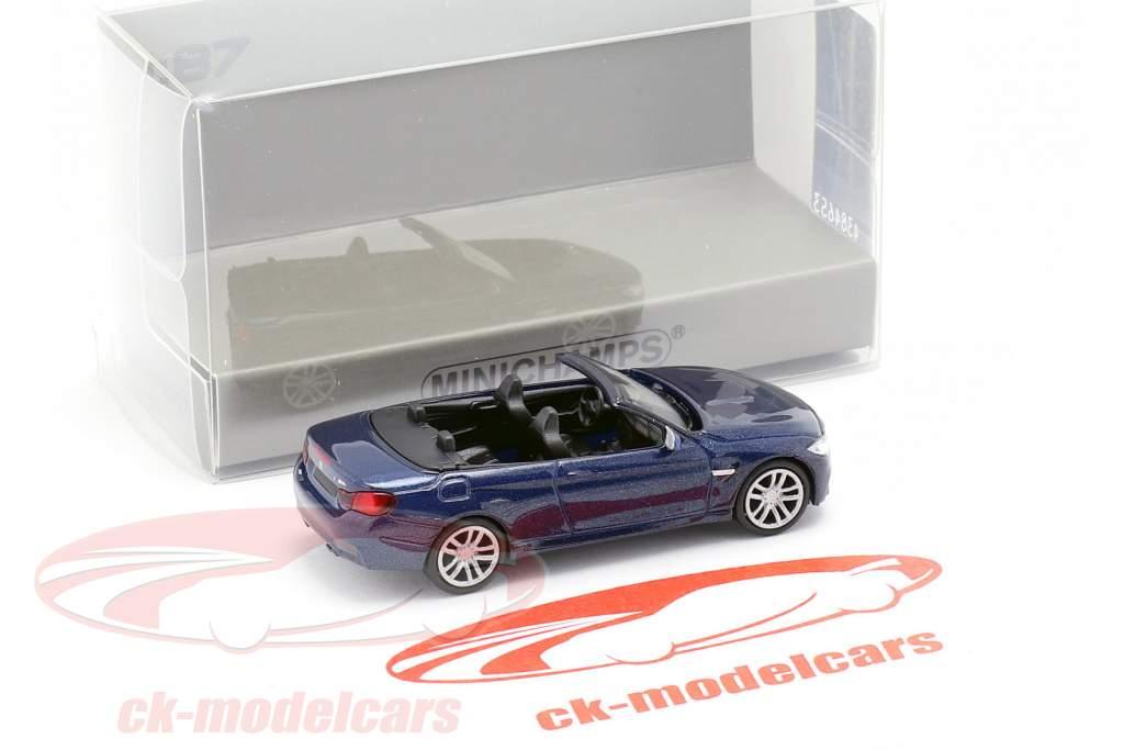 BMW M4 cabriolet année de construction 2015 bleu métallique 1:87 Minichamps